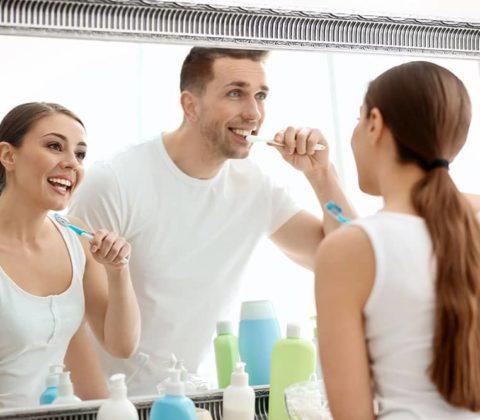 brushing tetth in bathroom